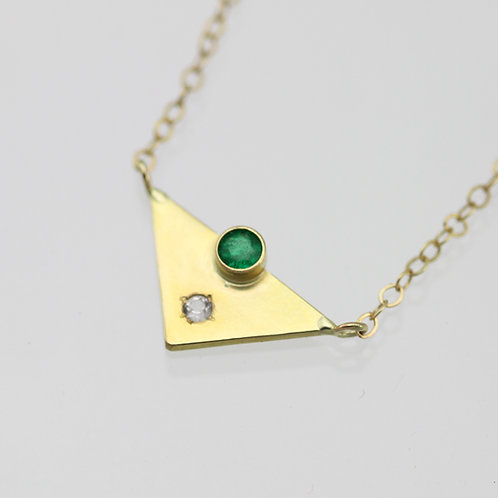 Triangle with 2 Stones Necklace (Emerald, White Topaz) in 14ky Gold
