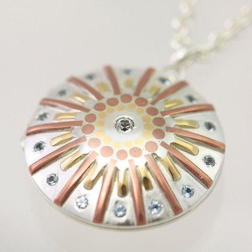 Sunburst Locket with Topaz in sterling silver, 14ky gold & copper (XL)