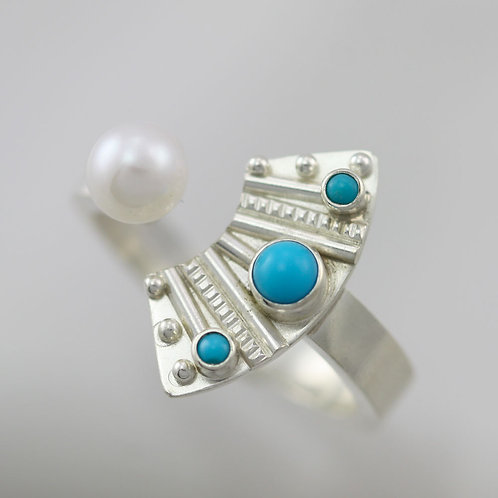 Totem with 3 Stones Split Ring with Pearl & Turquoise