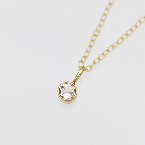 Morganite Drop Necklace 4mm in 14ky Gold