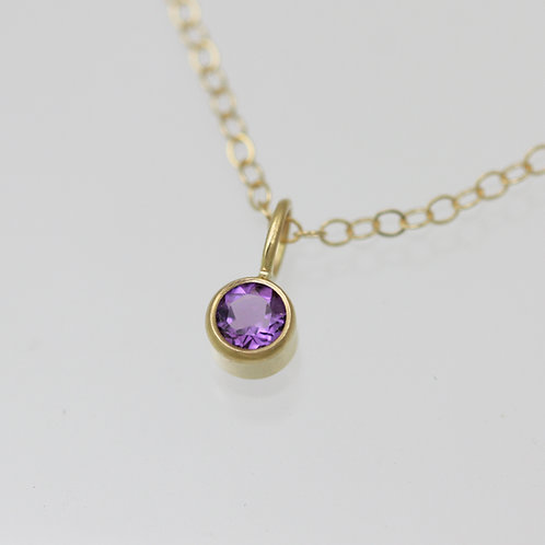 Amethyst Drop Necklace 4mm in 14ky Gold