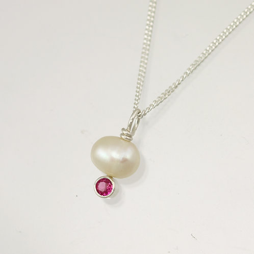 Pearl Drop Necklace with Birthstone in Sterling Silver