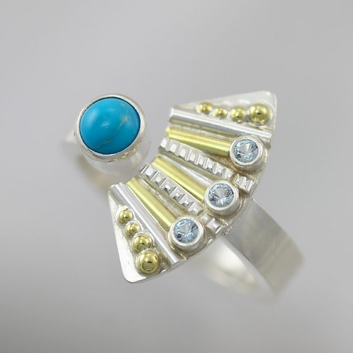 Striped Totem with 3 Stones Split Ring with Turquoise & Topaz