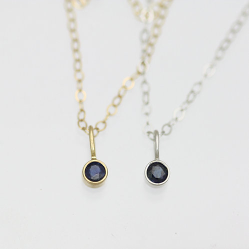 Sapphire Drop Necklace 3mm in 14k Gold
