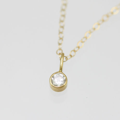 Diamond Drop Necklace 3mm in 14ky Gold