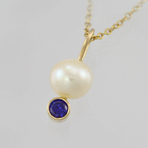 Pearl Drop Necklace with Birthstone in 14ky Gold