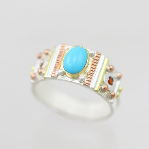 Oval Totem Ring with Sleeping Beauty Turquoise & Garnet