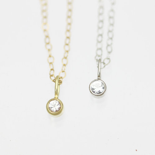 White Topaz Drop Necklace 3mm in 14k Gold