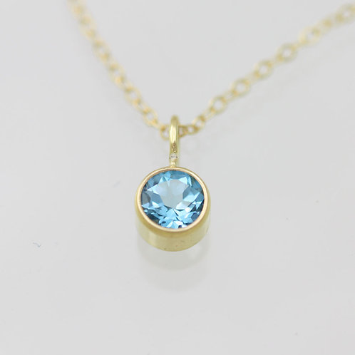 Blue Topaz Drop Necklace 5mm in 14ky Gold