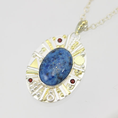 Oval Cabochon Totem Necklace with Denim Lapis and Garnet in Sterling Silver and