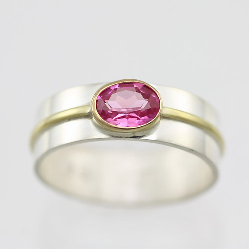 1 Stone Oval Wrap Ring with Pink Tourmaline in sterling silver and 14ky Gold