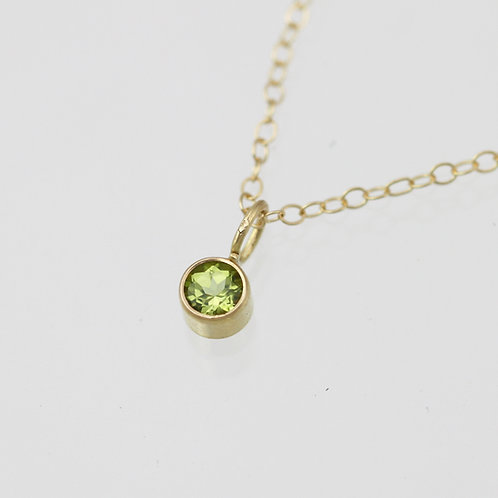 Peridot Drop Necklace 4mm in 14ky Gold