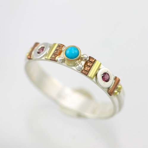 Totem Stacking Ring with Turquoise & Garnet