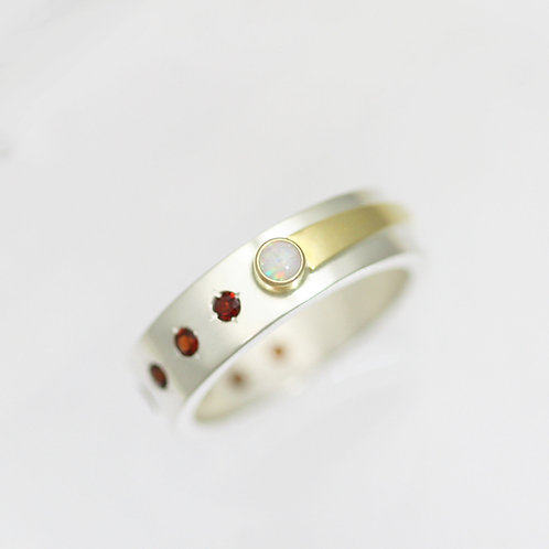 Celestial Ring with Opal & Garnet in Sterling Silver & 14ky Gold