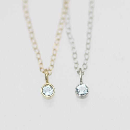Aquamarine Drop Necklace 3mm in 14k Gold