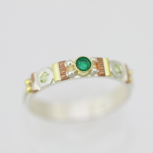Totem Stacking Ring with Emerald & Peridot
