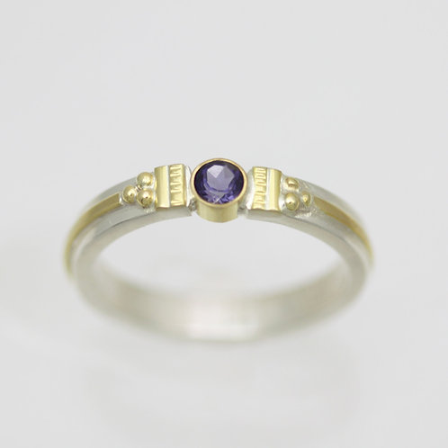 Eastern Tension Ring, sm. with Iolite in Sterling Silver & 14ky Gold