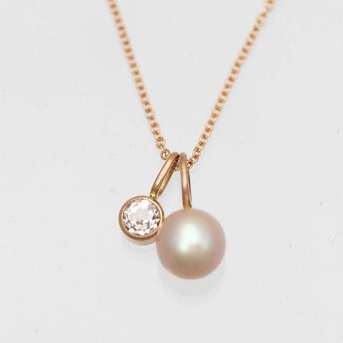 Pink Pearl & Morganite Drop Necklace in 14k Rose Gold