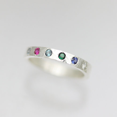 3mm Hammered Birthstone Mother's Ring in Sterling Silver