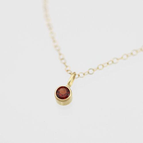Garnet Drop Necklace 4mm in 14ky Gold