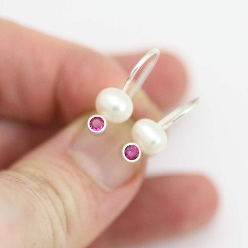 Pearl Drop Earrings with Birthstone in Sterling Silver