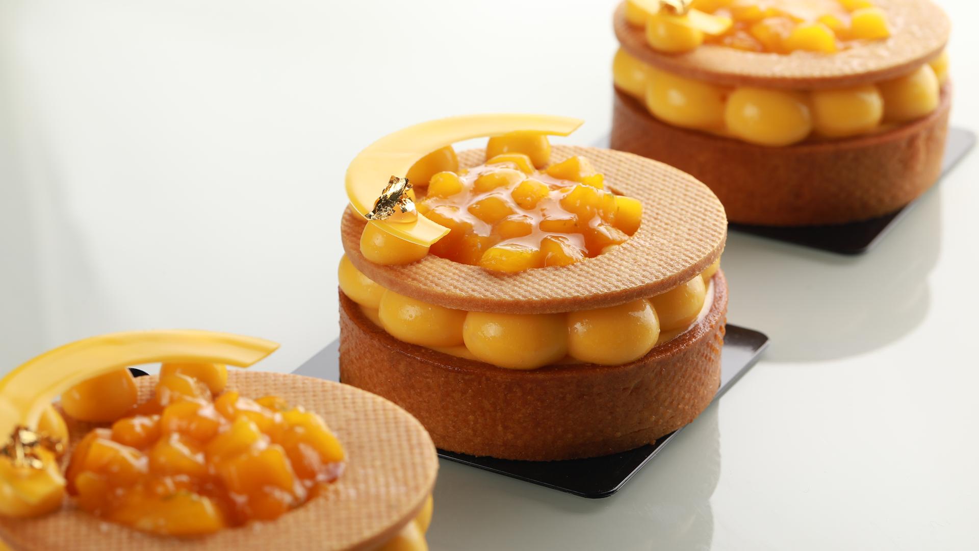 Almond passion fuit tart