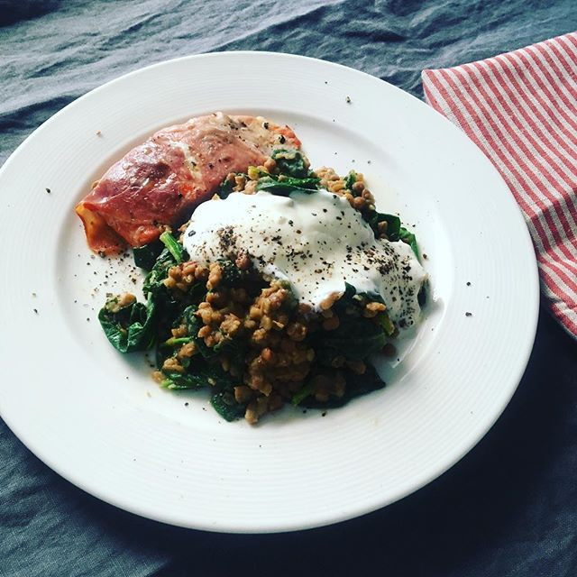 Salmon, herby spinach and yoghurt
