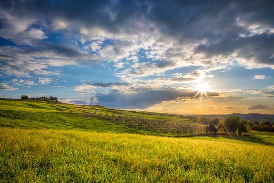 slnkom zaliate políčka vo Val d´Orcia