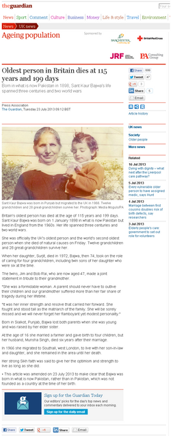 Oldest person in Britain dies at 115 years and 199 days   UK news   The Guardian