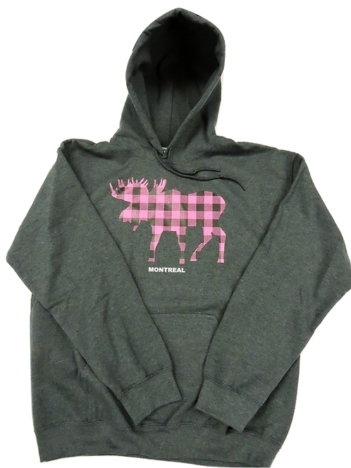 1850-Plaid Moose Hot Pink
