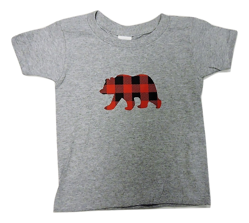 310-Plaid Bear Red Small