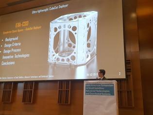 EXA engineer presenting at the 2nd IAA Latin American Symposium of Advanced Satellite Technologies