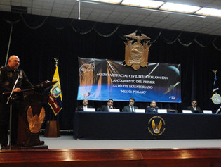 EXA Space Operations Director addresses the Ecuadorian authorities during the contract sign ceremony of Project PEGASUS