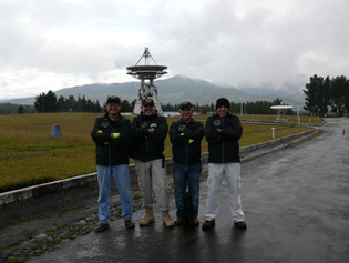EXA personnel inspecting the antennas at the Cotopaxi station