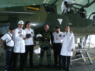 EXA engineers and mission commander about to flight a research mission onboard a FAE's Mirage F1
