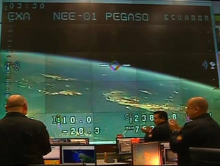 EXA personnel while receiving the video from orbit of the NEE-01 PEGASO
