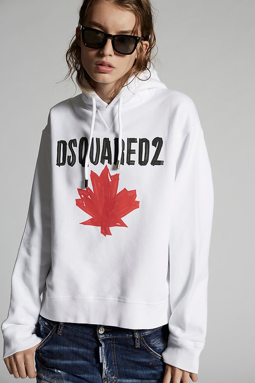 White Ovesized Dsquared2 Hoodie