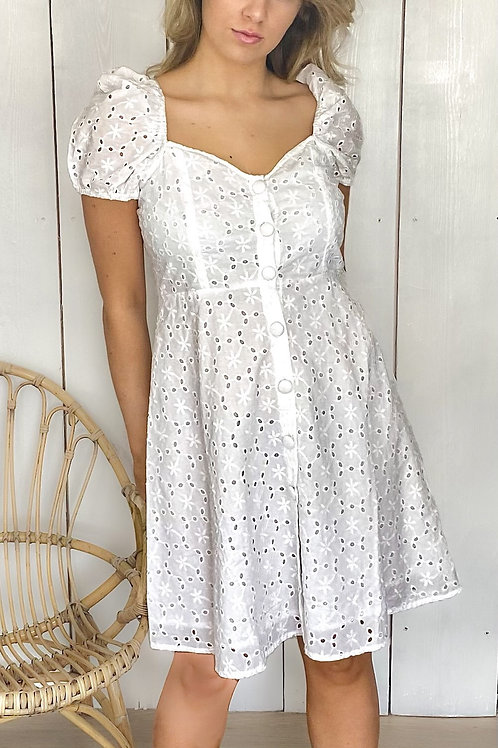 Embroidery Anglaise Button Front Dress