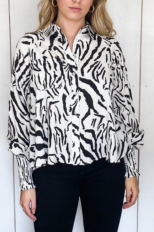 Zebra Print High Low Shirt