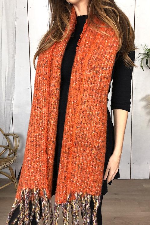 Chunky Knit Fleck Orange Scarf