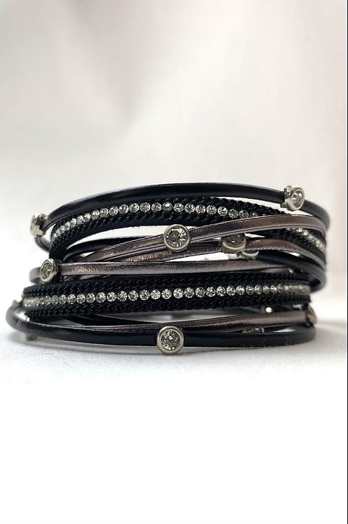 Black Textured Layer Bracelet