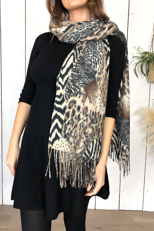 Mix Animal Print scarf in Brown/Beige