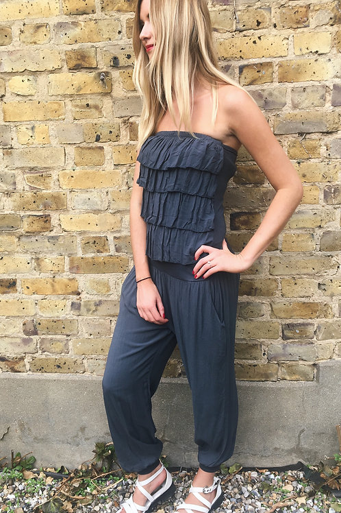 Charcoal Frill Jumpsuit