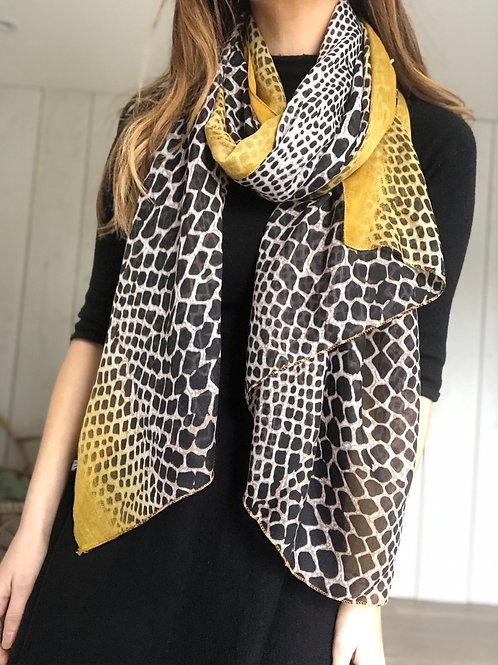 Black and Mustard Animal Print Scarf