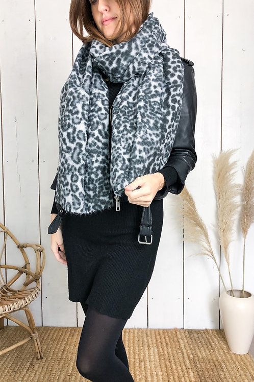 Grey Leopard Print Supersoft Scarf With Raw Edge
