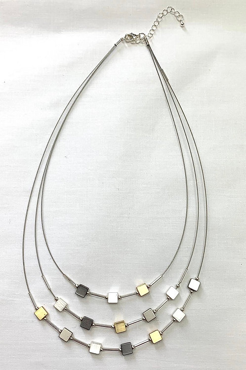 Gold And Silver Square Studded Necklace