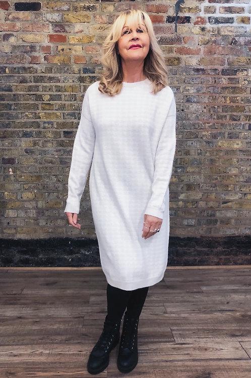 Cream Dogtooth Jumper Dress