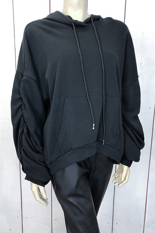 Hoodie With Oversized Ruched Sleeves