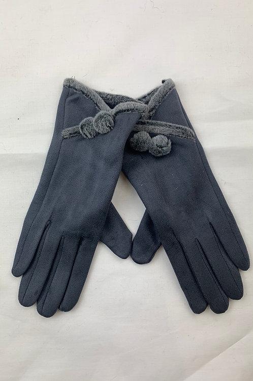 Grey Bobble Button Gloves