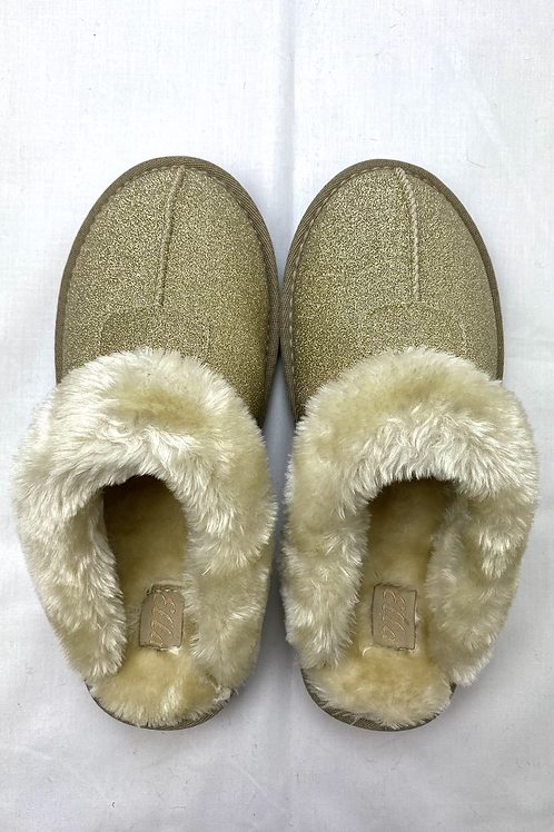 Gold Sparkle Fluffy Slippers